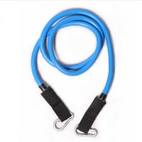 Wholesale blue elastic stretch exercise trainning tube metal pull rope for pilates workout resistance bands for freeshipping