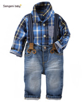 american terry - Hug Me Boys Cothing Kids Suit Long Sleeve Shirt Jean Pants set Kids clothes New Autumn Winter palm pattern Pants ER