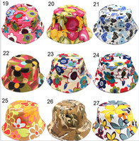 baby hat - DHL free Colors Children Bucket Hat Casual Flower Sun Printed Basin Canvas Topee Kids Hats Baby Beanie Caps