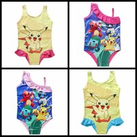 Wholesale Poke go children swimwear kids Pokémon one piece bathsuit baby girls Pikachu cute swimming suit colors