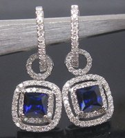 Wholesale SOLID K WHITE GOLD NATURAL SMALL NICE BlUE SAPPHIRE DIAMOND DROP EARRING