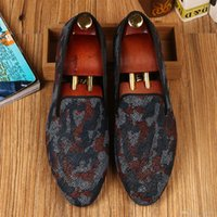 Wholesale Harpelunde Camoflauge Men Dress Shoes Pearl Leather Wedding Shoes Handmade Red Bottom Free Drop Shipping Size