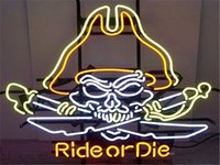 Wholesale 2016 LED Ride Or Die Motorcycle Real Glass Neon Light Signs Bar Pub Restaurant Billiards Shops Display Signboards quot x14 quot