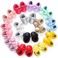 Wholesale 16Color New Leather Tassels Bow Baby Moccasins Soft Moccs Baby Shoes Kids Genuine Cow Leather Newborn Baby Prewalke high quality