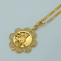 arab jewelry - Metal Gold Coin Necklace for Turks k Gold Plated Turkey Necklaces Womens Arab Pendant Jewelry White Stone Turkish Coin E