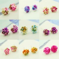 Wholesale Hot Sale New Styles Earrings for Women Fashion Jewelry Stud Earring Colorful Resin Flowers Earrings Cute Hypoallergenic B0315