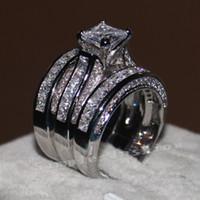 al por mayor bandas de diamantes de oro-Vecalon fina joyería de corte princesa de 20 ct Cz anillo de compromiso de la boda anillo de la venda para las mujeres 14KT oro blanco llenado anillo de dedo