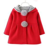 ball hoods - 2016 Kawaii Kids Winter Coats with Hood Rabbit Ears Baby Girls Coats Push Ball Stylish Christmas Coats Cotton Infant Children Outerwear