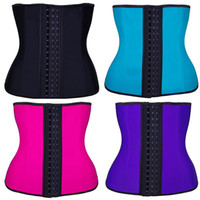Wholesale Corsets Plus Sized Women - Waist Trainer Corset Steel Bone Sport Latex Girdle Slim Shaper Fitness Waist Belt Corset Women Waist Shapewear 3 Layers Plus Size