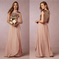 Wholesale Sparkly Sequined Two Pieces Bridesmaid Dresses Bhldn Jewel Neckline Cheap A Line Wedding Guest Dress Floor Length Chiffon Formal Gowns