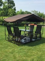 Wholesale High class Fashion Garden Aseembled Slideable Black Metal Tent For Leisure And Business