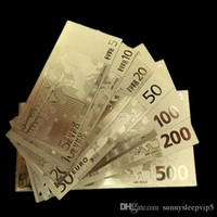 banknotes lot - 7 New design different Euro Gold foil banknote Art work paper money souvenir Collection gift