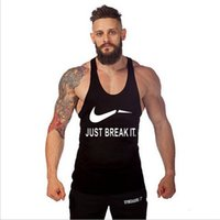 Wholesale Letter Printing Gym Tank Top Men Bodybuilding Clothing Fitness Mens Sleeveless Shirt Vest Cotton Muscle Shirt Tops