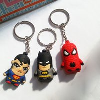 Wholesale 2016 New Superman Batman Spider Man cartoon anime boy Keychain sided soft toys for kids epacket