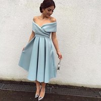 Wholesale Simple V neck Pleat Graduation Dresses For College Tea Length Short Homecoming Dresses Cheap Ice Blue Satin Arabic Prom Evening Gowns