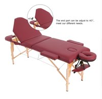 adjustable massage tables - 3 Fold Portable Massage Table Furniture for Beauty Salon SPA Facial Therapy Tattoo Adjustable Wooden Massage Bed Device
