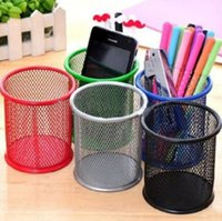 Wholesale Round Cosmetic Metal Pen Pencil Pot Holder Stationery Container Organizer Desk