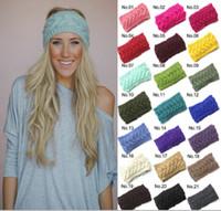 Wholesale Fashion Women Crochet Headband Fashion Wool Crochet Headband Knit Hair band Winter Warm headbands Girls Headwrap women Hair Accessories D492