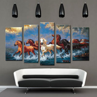 Wholesale 5 Picture Combination Oil Paintings Canvas Running Horse Printing Animal Subject Moisture Proof Canvas Paintings for Home Decoration