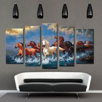 Конные фотографии Цены-5 фото Комбинация Картины маслом Холст Запуск лошади Печать животному влагоизолирующие полотнами для украшения дома