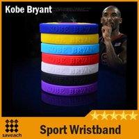 al por mayor rubber band bracelets-Los accesorios calientes del pun ¢ o de la venda de muñeca de la pulsera del pun ¢ o del Wristband del deporte del caucho de silicona de Coloful Kobe Bryant liberan el envío