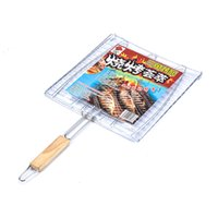 Wholesale Barbecue Net Camping Barbecue Grill Folder Folder Barbecue Meat Fish Vegetables Barbecue Tools Wooden Handle Basket