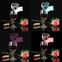 Wholesale 50Pcs Love Heart Place Escort Table Mark Wine Glass Name Place Card Festival Wedding Party Bar Decoration DIY Cup Decor