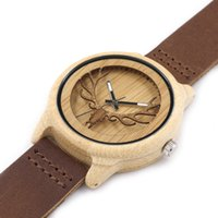 antique clocks and watches - Bamboo and wood Watches Antique Green clock handwork artware watches Real Leather Bands wristWatches for Men women hot selling B007
