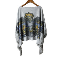Wholesale Women sweaters and knitwear autumn winter new arrival pullovers dolman eagle printing sweater with flow fashion style