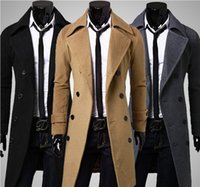 Wholesale 2016 New Brand Winter Mens long pea coat Men s wool Coat Turn down Collar Double Breasted men trench coat