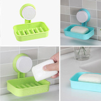 Wholesale Candy Color Toilet Suction Cup Holder Bathroom Shower Soap Dish Home Hotel Travel Soap Dish tray Wall Holder Storage Box