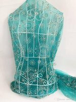 aqua colored dresses - New arrival soft French lace fabric for sewing bridal dress aqua color with stones African embroidered mesh lace