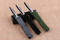 automatic plate - mini Key buckle knife aluminum T6 green black carton fiber plate double action Folding Knives gift knife xmas knife Free shipp