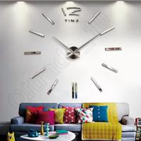 Wholesale 100Lots Analog D Home Decoration Large Wall Clock Modern Design Big Cat Feet Mirror Surface Sticker LLA172