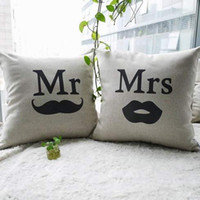 Wholesale Creative Cotton Linen Decorative Couple Throw Pillow Cover Set of two Mr and Mrs