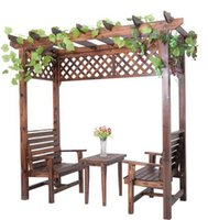 Wholesale Outdoor Furniture Wooden Garden Flower Pergola With Desk And Chairs