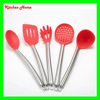Wholesale DHL Free Silicone Cooking Tools with Stainless Steel Handle For Nonstick Pots Silicone Spoon Skimmer Ladle Spaghetti Kitchen Utensils Set
