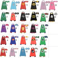 Wholesale Gold Hands New Party Supplies for kids Double Side kids Superhero Capes Super hero Batman Spiderman Supergirl kids capes with mask