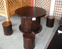Wholesale Outdoor Furniture Cylindrical Shape Wooden Desk And Chair Garden Set