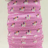 foe - ribbon OEM inch mm unicorn on purple design folded over elastic FOE for hair tie