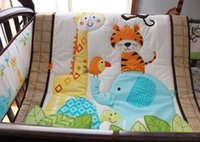 Wholesale Baby bedding set Embroidery Forest animal elephant giraffe tiger bird flowers Cover Crib bedding set Quilt Bumper Skirt Fitted Cot bedding