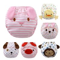 Wholesale 2016 New Cute Baby Cotton Diapers layers Cartoon Infant Waterproof Diapers Toddler Pants Washable Reusable Diapers By DHL