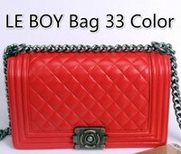 Shoulder Bags acrylic splits - Top Quality Vintage Le Boy Bag Outer Lock leboy Plaid Chain Bag Women Handbag Bags Classic Flap Bag WOC Le Boy Bag