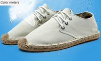 Wholesale Flax straw fisherman summer shoes breathable men s casual shoes canvas shoes straw shoes Korean couple tide shoes single shoes