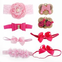 beetles band - Baby Headband and Hair Clip Set Big Pink Satin Lace Flower Bow Hair Band Triple Shabby Chiffon Flower Beetle Hair Clip