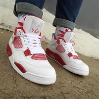 Cheap Discount retro 4 thunder OG white cement men women basketball shoes sneakers 2016 high cut shoes US sizes 5.5-13 High Quality Version