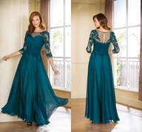 Wholesale Teal Chiffon Mother of the Bride Dresses with Lace Applique Formal Wedding Party Dresses Mother of the Groom Gowns Sleeves HY1093