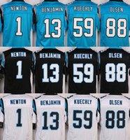 Wholesale NIK Elite Panthers jerseys cheap rugby football jerseys Carolina NEWTON KUECHLY OLSEN BENJAMIN light blue black white freeship