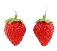 alphabet costumes - Fashion Design Cute Vivid Red Strawberry Drop Earrings for Women Costume Jewelry