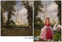 Wholesale P5x6 ft x200cm DZ Photography Backdrops Vintage Dream Castle Big Tree field Fundo for little Kids ang wedding studio thin vinyl S1248